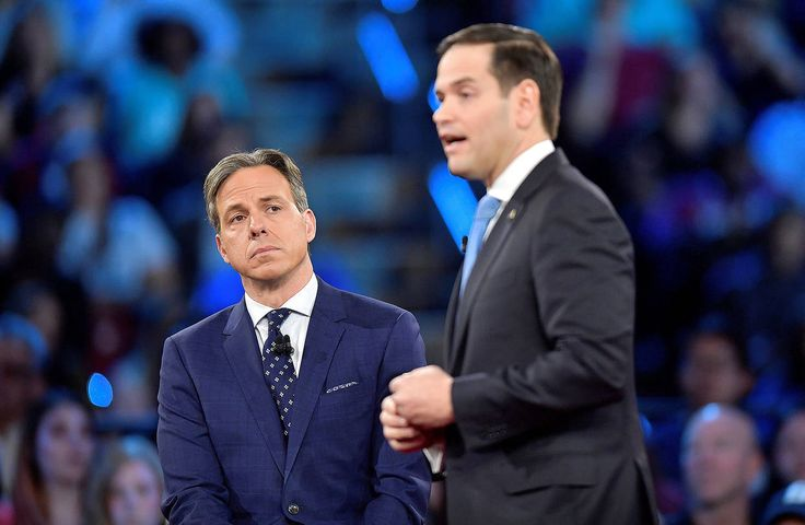 CNN's Jake Tapper and Sen. Marco Rubio during a CNN town hall meeting at the...