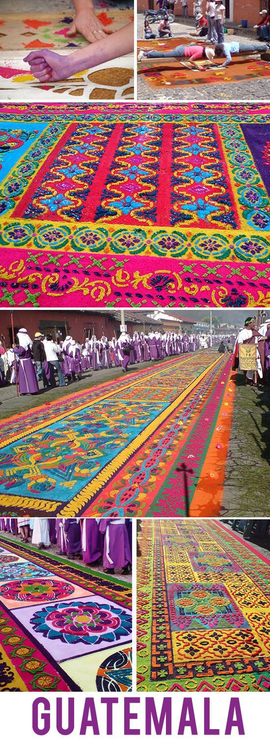 Sawdust carpets lining the streets of Antigua, Guatemala for the Easter processions.  These are truly remarkable in person.