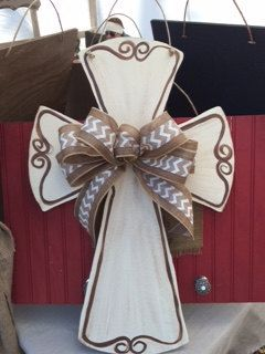 Cross Door Hanger with Burlap Bow by SassySouthArt on Etsy https://www.etsy.com/listing/213371776/cross-door-hanger-with-burlap-bow