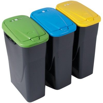 Poubelle tri sélectif à rabat 25 L, dim. 36x24x50 cm, plastique. La couleur bleue concerne les papiers, journaux et prospectus. Vendue seule (la poubelle jaune est vendue sous la réf. 311843 et la verte sous la réf. 311844).
