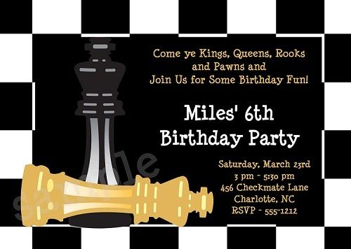 Chess Birthday Invitation, Chessboard Birthday Invitation,Checkmate Party Invitation,Party Supplies,Party Decorations www.cutiepatootiecreations.com  Cutie Patootie Creations