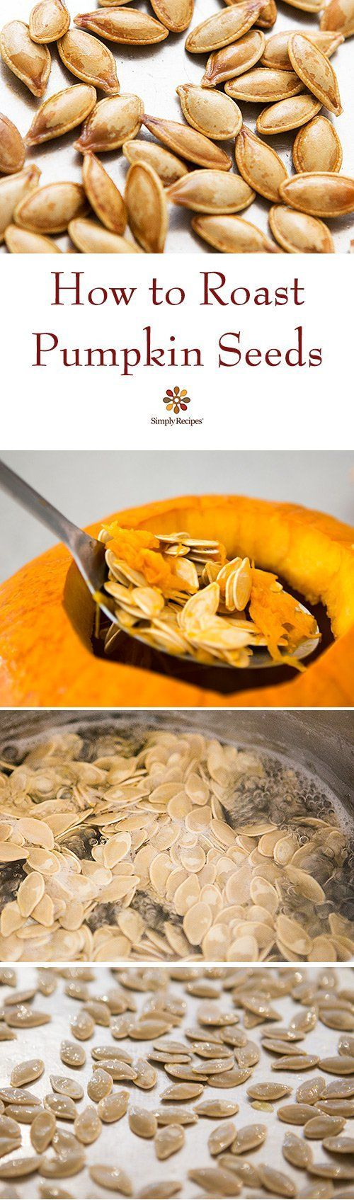 Roasted Pumpkin Seeds ~ Don't throw away the pumpkin seeds from your pumpkin!  Roast them for a delicious healthy Halloween snack ~ www.simplyrecipes...