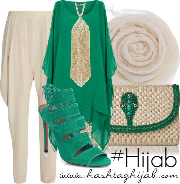 Comfortable pastel Pants, green kaftan | Hijab Outfit