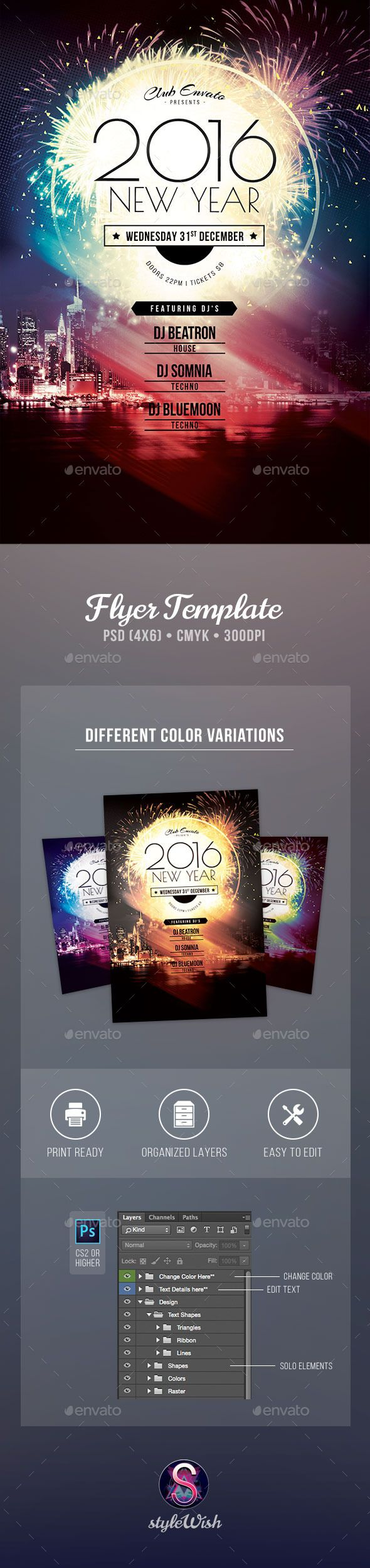 2016 New Year Flyer Template PSD #design #nye Download: http://graphicriver.net/item/2016-new-year-flyer/9689412?ref=ksioks
