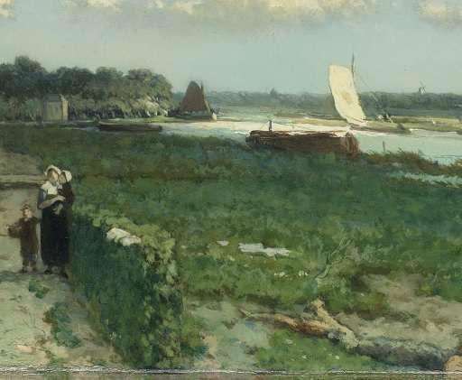 De Trekvliet bij Rijswijk, bekend als 'Gezicht bij de Geestbrug', Johan Hendrik Weissenbruch, 1868 - Meestermatches-Verzameld werk van Ben Neervoort - Alle Rijksstudio's - Rijksstudio - Rijksmuseum
