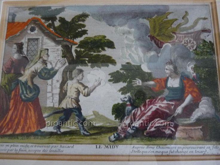 Paire De Gravure Polychrome époque Louis XIV XVIIe, Céres Stellion