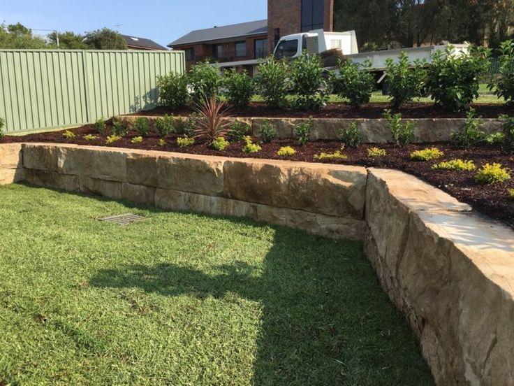 Sandstone Blocks For Retaining Walls Park Slopes Front Fences Landscaping Retaining Walls Garden Design Retaining Wall