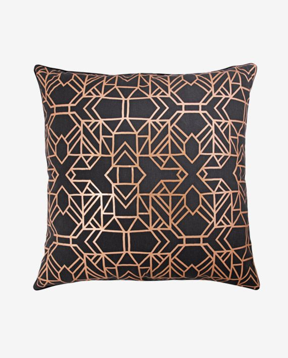X&Y Copper on Charcoal Cushion Cover