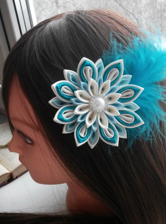 Kanzashi hair clip/Kanzashi flower/Peacock fabric by AirinFlowers