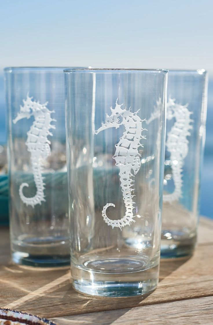 Drink to the good life with the nautical-inspired Seahorse Etched Drinkware. | Frontgate: Live Beautifully Outdoors