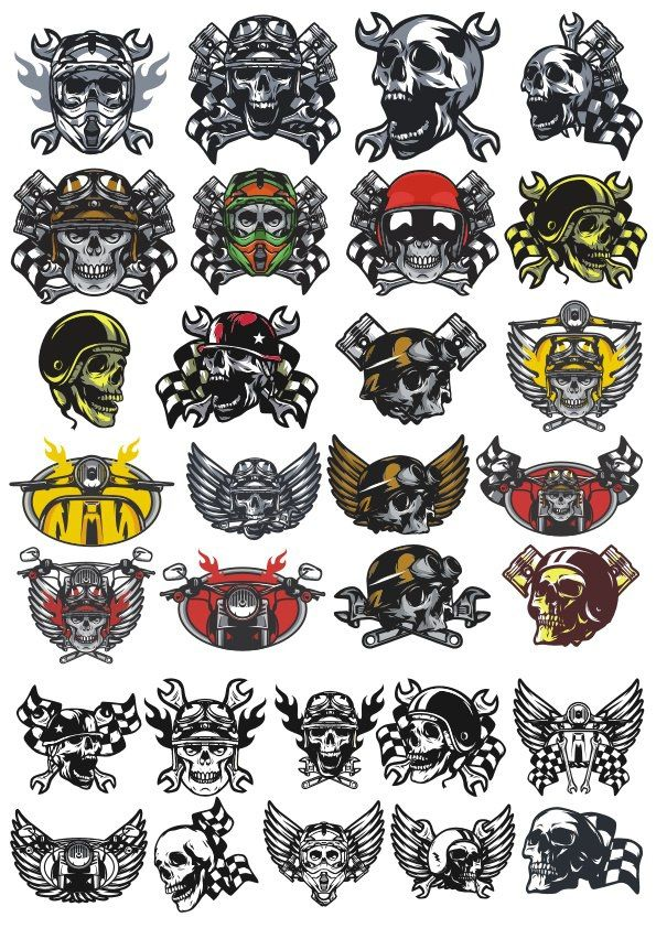 Moto Skull Sticker Vectors Free Vector cdr Download