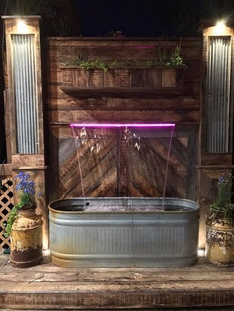 Best-Idea-Ever !This DIY Waterfall Fountain Is Made of Troughs and Old Wood