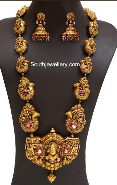 Antique Gold Peacock Nakshi Haram
