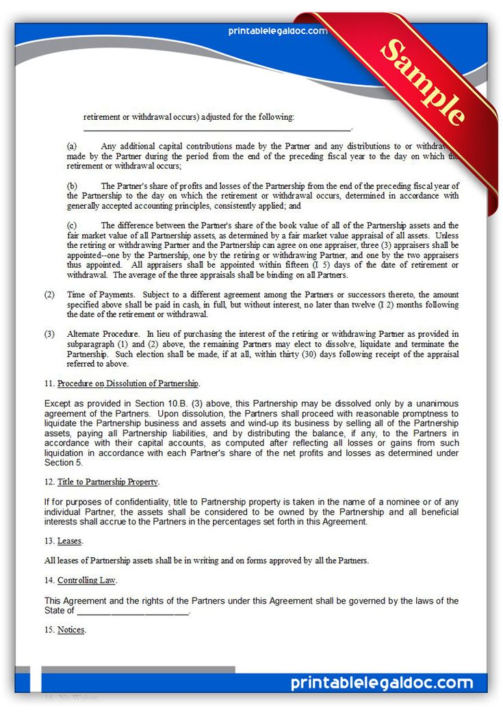 Free Printable Partnership Agreement Legal Forms Free Legal - partnership agreement form