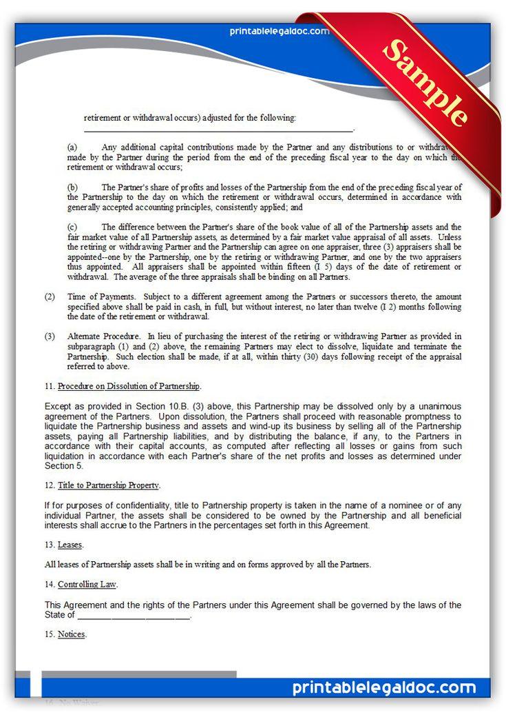 Free Printable Partnership Agreement Legal Forms Free Legal - partnership agreement format