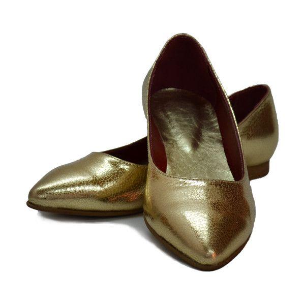 balerini piele aurii via Polyvore