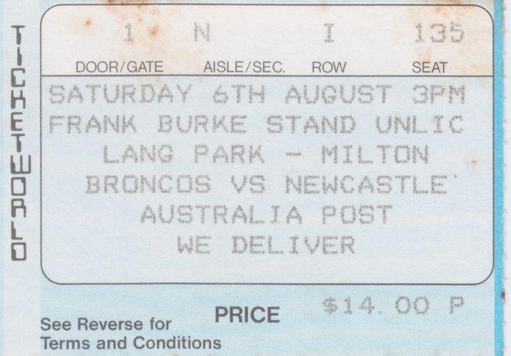 Broncos vs Newcastle, Lang Park, Brisbane 1988.