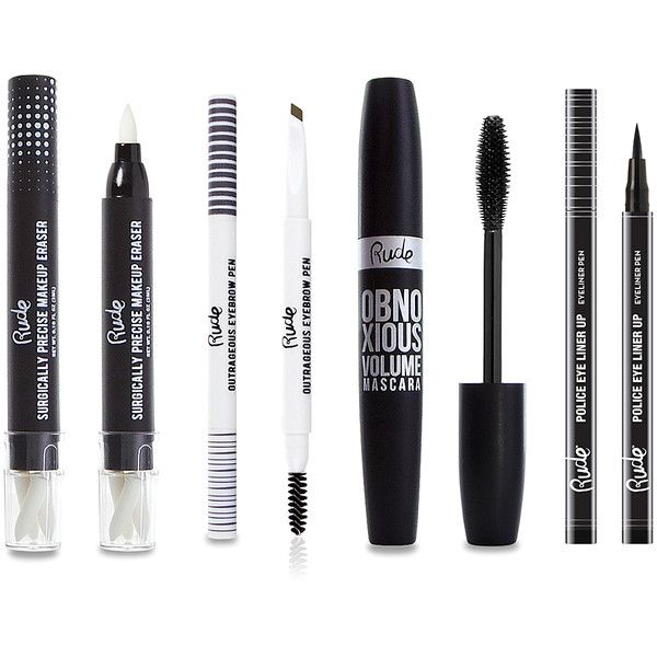 Rude Cosmetics Black Surgically Precise Makeup Eraser & Police... ($20) ❤ liked on Polyvore featuring beauty products, makeup, eye makeup, pen eyeliner, eye brow makeup, brow makeup, eyebrow makeup and eyebrow cosmetics