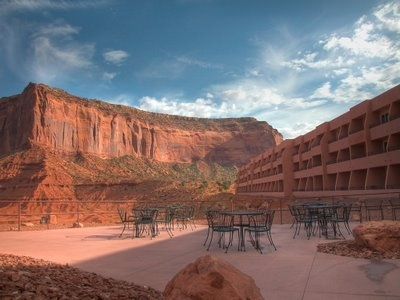 Patio At The View Hotel In Monument Valley