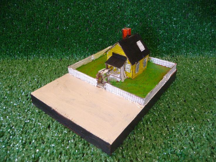 Cardboard house on wood. $150