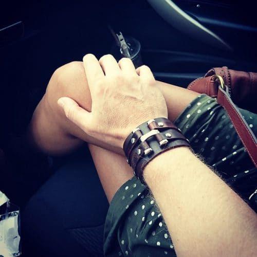 Leather bracelet cuff BIKER
