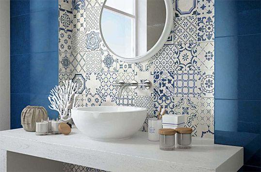 Синяя плитка в стиле пэчворк для ванной комнаты и кухни