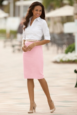 SKIRTS: Linen-Blend Pencil Skirt Misses | Chadwicks  ($30 only light colors but I think I like the sandshell color and it's longer than mom's grey one)