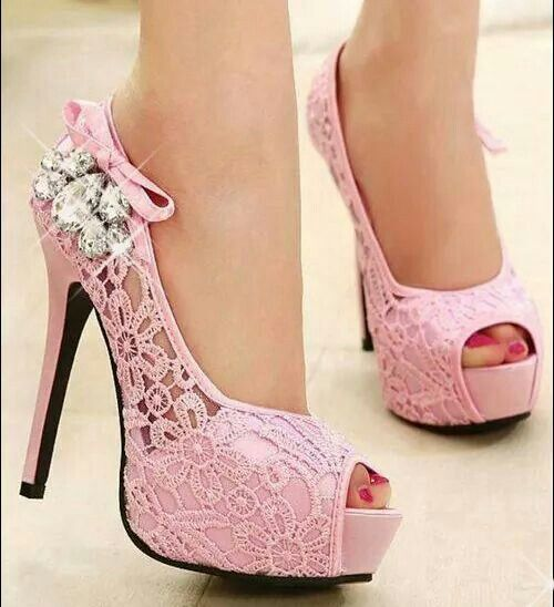 shoes: pink and sparkly heels