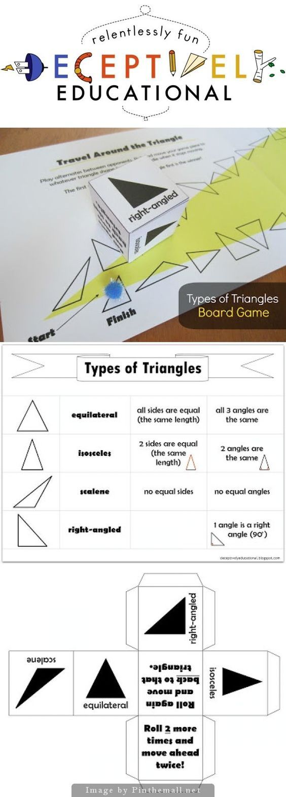 free - types of Triangles Board Game - a board game to help students learn the four types of triangles: ~Scalene ~Right-angled ~Equilateral ~Isosceles   Includes a sheet explaining the differences between the four types of triangles  