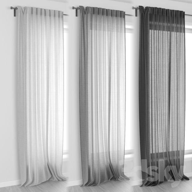 3d models: Curtain - IKEA AINA Curtains