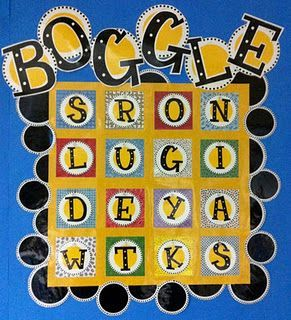 Free!!! 35!!! Pages of printables to make a CUTE Boggle bulletin board game & activities!!!!