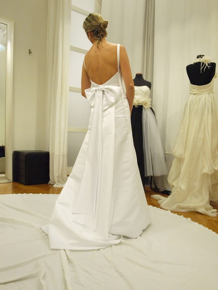 Hand made silk wedding gown from atelier Konstantinos Tsigaros.
