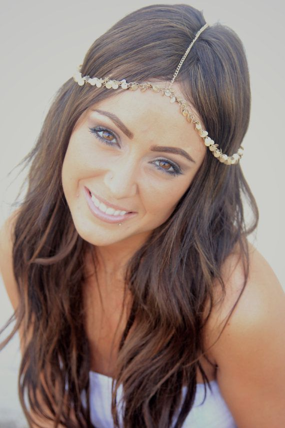 CHAIN HEADPIECE gold disc head chain por LovMely en Etsy