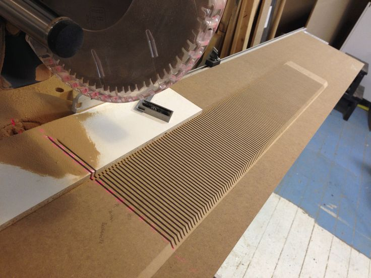 Making MDF bendable by many small cuts 2/3 through the material. Love my Festool Kapex as it just makes the job so much easier. / #festool #kapex #woodworking
