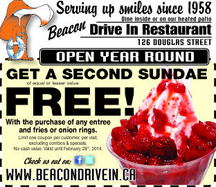 Second #Sundae #Free #servingupsmiles #beacondrivein #icecream #fries #bugers #onionrings #treats #yyj
