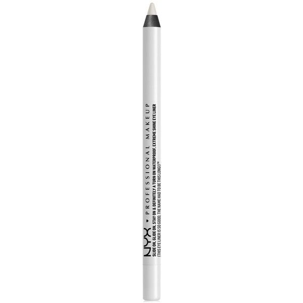 Nyx Professional Makeup Slide On Eye Pencil ($8) ❤ liked on Polyvore featuring beauty products, makeup, eye makeup, eyeliner, beauty, pure white, nyx eyeliner, pencil eye liner, nyx and liquid eye-liner