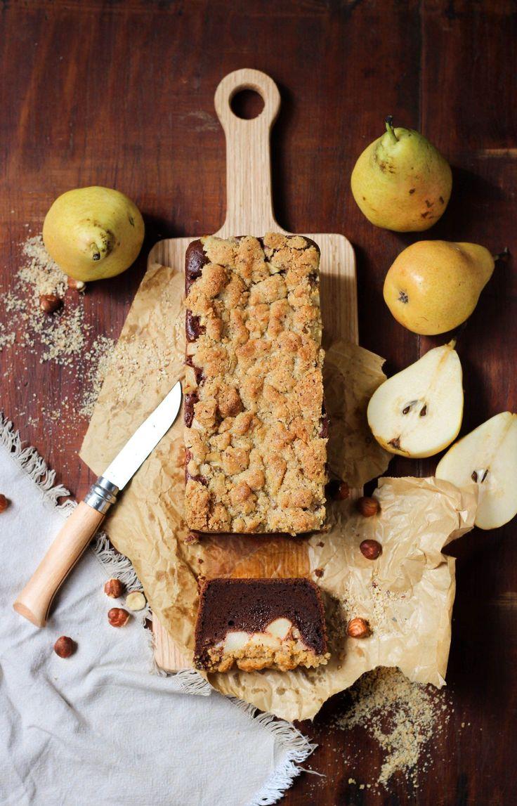 Crumble cake poires et chocolat, moelleux idéal pour le goûter