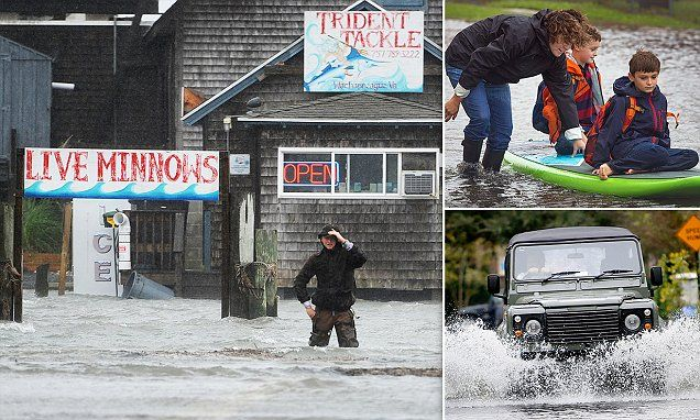 A 'once-in-200-years rainfall event' has left 22million Americans on the East Coast on flood watch - with several states facing torrential downpours and even landslides.   Read more: http://www.dailymail.co.uk/news/article-3258624/East-coast-storms-leave-22million-Americans-flood-watch-rain-Carolinas-kills-two.html#ixzz3nWpLH2je  Follow us: @MailOnline on Twitter | DailyMail on FacebookEast Coast storms leave about 22million Americans under flood watch