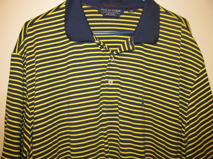 Ralf Lauren Blue & Yellow striped Polo Golf shirt - Adult 2XL #RalphLaurenGolf #PoloRugby
