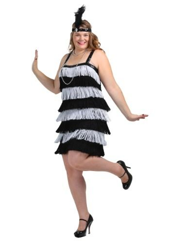 This fringe black and silver plus size flapper dress is like the flapper costume worn in the Chicago movie. Flapper dress costume comes with feather headband.