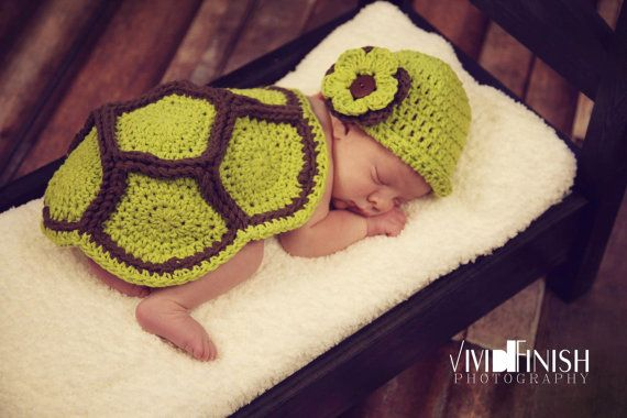 Crochet Turtle Shell & Hat   Adorable!