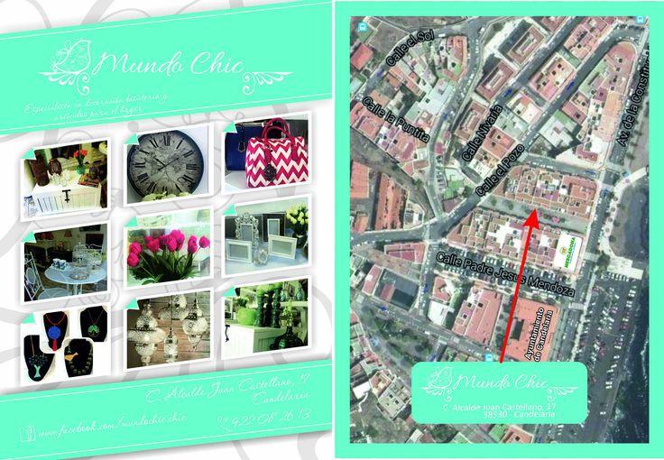 Diseño e impresión flyer DinA6, doble cara, Mundo Chic - Ideas frescas