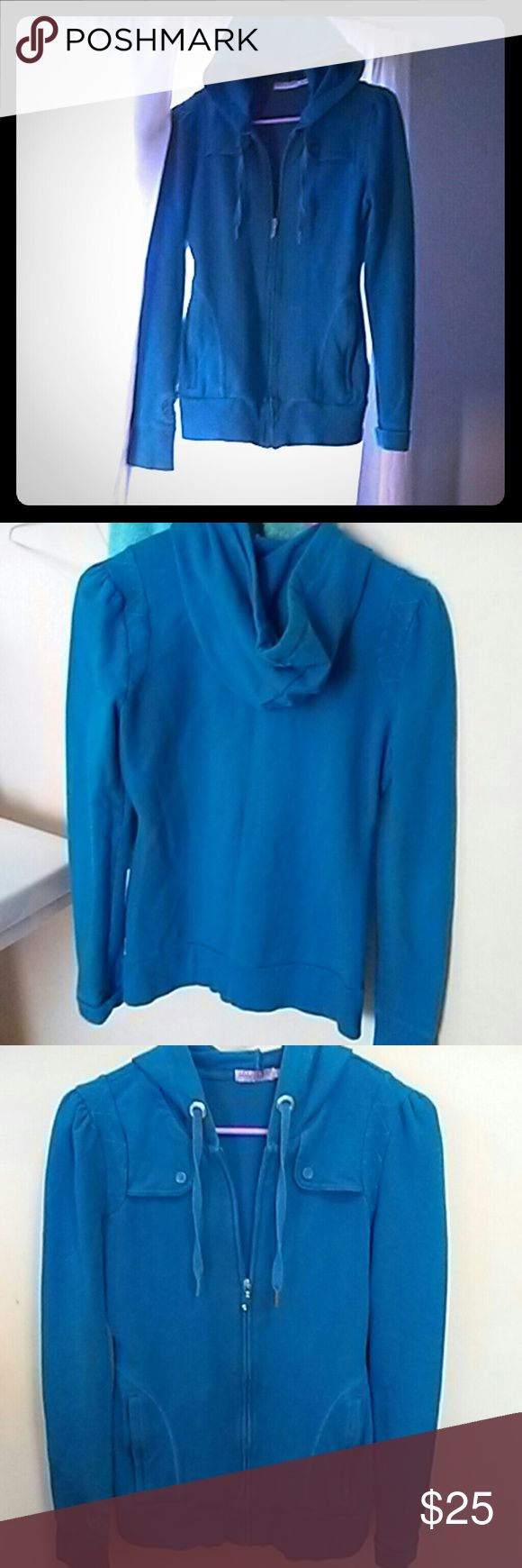 Juicy Couture Sz small petite hooded zip up jacket adorable .barely worn! its a great blue color and is a zipper hoody.  has two front pockets and cute buttons and design up top.. Juicy Couture Tops Sweatshirts & Hoodies