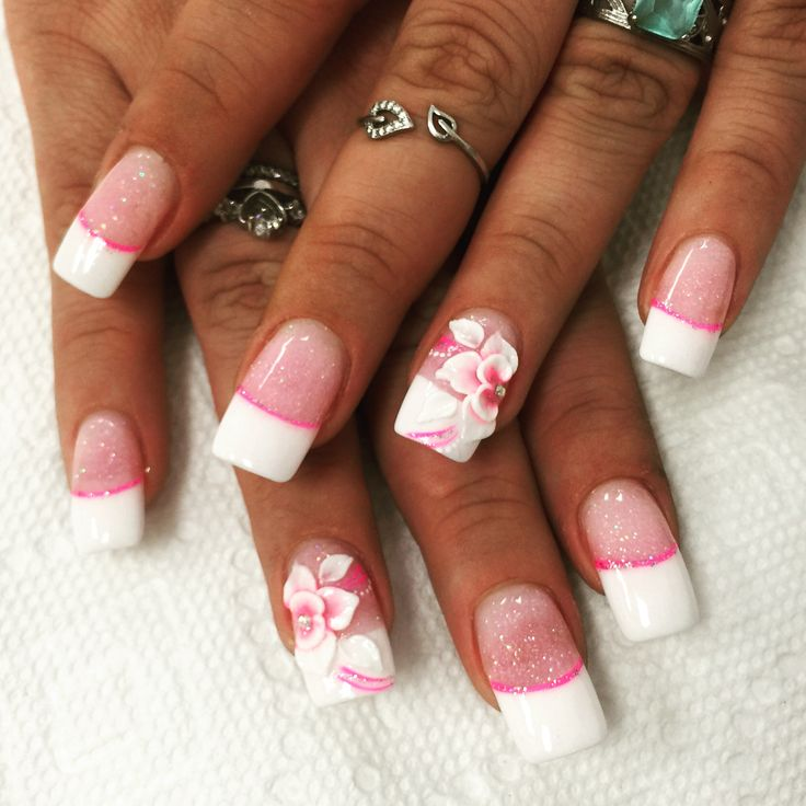 Nails Design 3d Pink And White Glitter ANC French Manicure