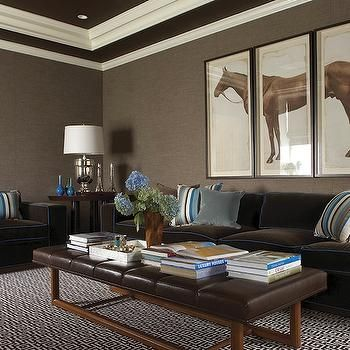 Brown Leather Ottoman Coffee Table, Contemporary, basement, Lewis Interiors