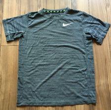 Nike DRI FIT Womens TOP T Shirt Grey Black Stripe XL | eBay