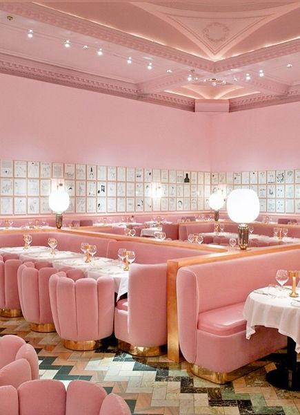 Restaurant Sketch à Londres. Design par India Mahdavi, d'après les dessins de David Shrigley.