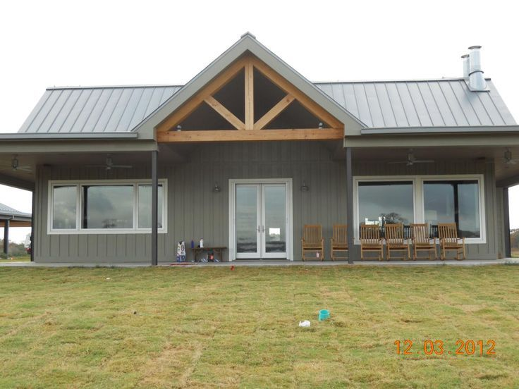 Clean lines love the large windows i 39 d live in a barn for Barn house plans with porches
