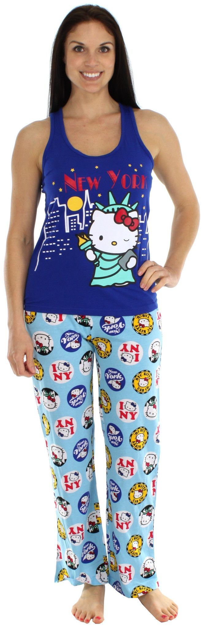 This Hello Kitty tank pajama set is a fun and flirty way to begin the Spring and Summer months. The top is 60% Cotton 40% Polyester and the pant is 100% Cotton. The racerback tank top features a place