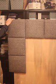 DIY Upholstered Headboard Squares (would do it with long rectangles)